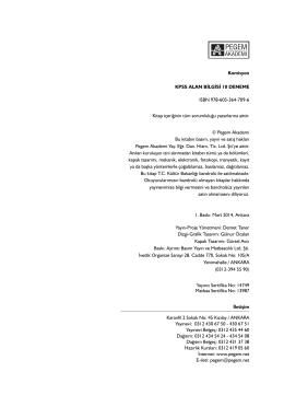 Komisyon KPSS ALAN BİLGİSİ 10 DENEME ISBN 978