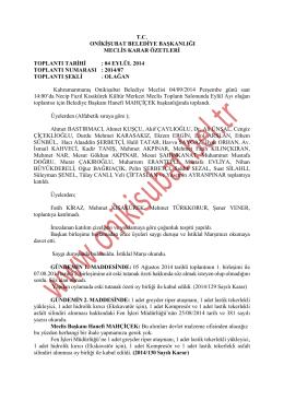 2014 yılı eylül ayı meclis karar özeti