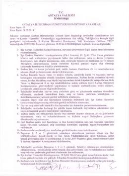 kurban hizmetleri komisyon kararları