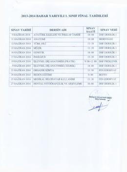 2013-2014 bahar yarıyılı 1. sınıf final tarihleri