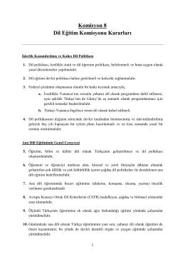 Komisyon 8 Dil Eğitim Komisyonu Kararları