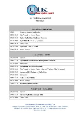 DIŞ POLİTİKA AKADEMİSİ PROGRAM 5 MART 2015