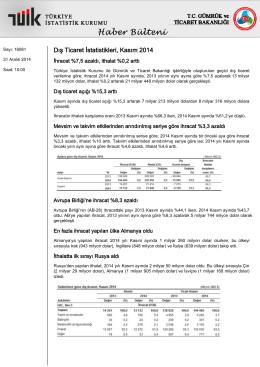 Dış Ticaret İstatistikleri-(Kasım 2014