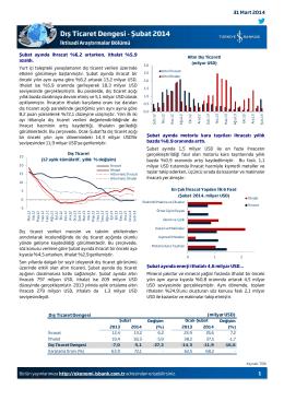 Dış Ticaret Dengesi - Şubat 2014
