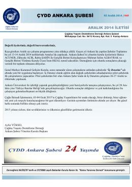 Aralık 2014 İletisi - ÇYDD Ankara Şubesi