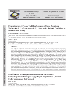 Determination of Forage Yield Performance of Some Promising