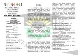 BİYOLOJİ BÖLÜMÜ - E-Universite