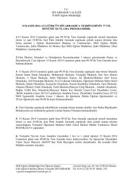 T.C. DĐYARBAKIR VALĐLĐĞĐ Đl Milli Eğitim Müdürlüğü 15 KASIM
