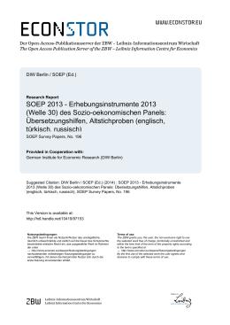 SOEP 2013 – Erhebungsinstrumente 2013 (Welle 30