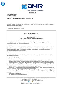 KONU: Pay Alım Teklifi Tebliği (Seri II – 26.1)