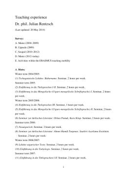 Teaching Rentzsch 20140520 - Julian Rentzsch Turcologist