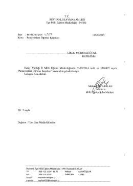 Pansiyonlara Öğrenci Kayıtları - reyhanlı ilçe millî eğitim müdürlüğü