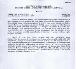 Eskişehir - İnönü - kültür ve tabiat varlıklarını koruma bölge kurulları
