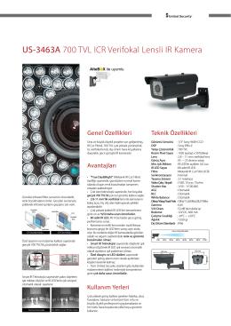 US-3463A 700 TVL ICR Verifokal Lensli IR Kamera