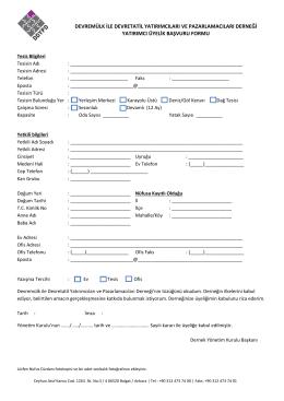 Yatırımcı Üyelik Başvuru Formu