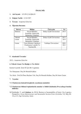 CV - Yaşar Üniversitesi | Uluslararası Lojistik Yönetimi Bölümü