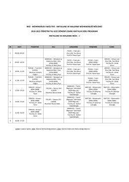 Ders Programı - Metalurji ve Malzeme Mühendisliği