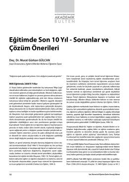 Eğitimde Son 10 Yıl - Sorunlar ve Çözüm Önerileri