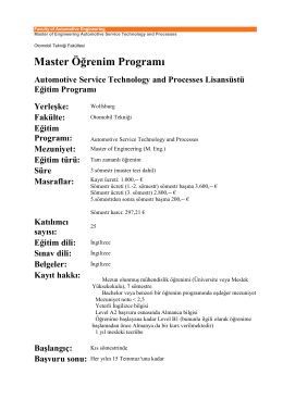 Master Öğrenim Programı Automotive Service Technology and