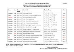 2014-2015 Güz dönemi lisansüstü ders programını görüntülemek