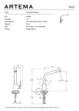 Tanım Pure Eviye Bataryası Kod :A42089 Aırlık (kg) :1.75 EPD :Evet