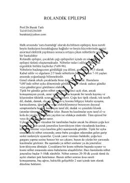 ROLANDİK EPİLEPSİ - Prof.Dr. Burak Tatlı