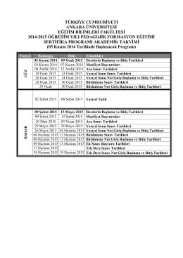 Akademik Takvimi (05.11.2014) - Eğitim Bilimleri Fakültesi