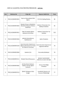 SOSYAL KALKINMA MALİ DESTEK PROGRAMI – Asil Liste 1 TR22