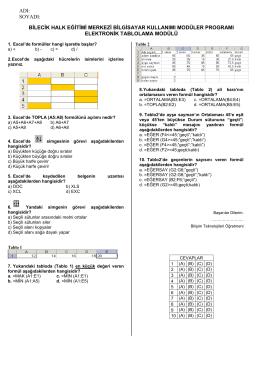 excel deneme sınavı-4