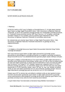 D U Y U R U/2014–003 İŞYERİ HEKİMİ ÇALIŞTIRILMA ESASLARI I