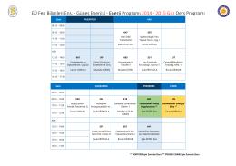 Ders Programı (2014-2015 Güz) - Ege Üniversitesi Güneş Enerjisi