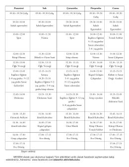 Aylık Ders Programı (PDF)