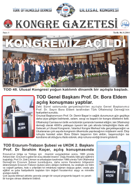 Kongre Gazatesi Sayı 1 - Türk Oftalmoloji Derneği