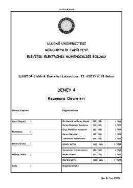 4. Deney - Elektrik-Elektronik Mühendisliği Bölümü