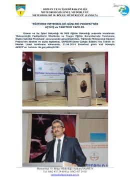 Eğitimde Meteoroloji Günleri Projesinin Açılış ve Tanıtımı