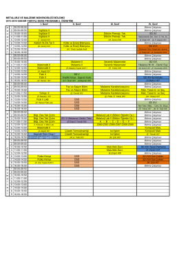 metalurji ve malzeme mühendisliği bölümü 1 08:00