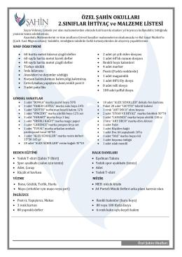 2.Sınıflar İhtiyaç Listeleri