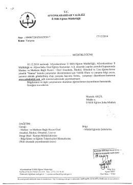 Müdürlüğümüzün konu ile ilgili 17/12/2014 tarih ve 6593017 sayılı