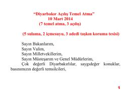 Diyarbakır Açılış Temel Atma - Devlet Su İşleri Genel Müdürlüğü