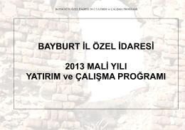 2013 mali yili yatirim ve calisma programi