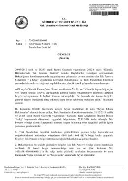 Tek Pencere Sistemi - Türk Standartları Enstitüsü Genelge