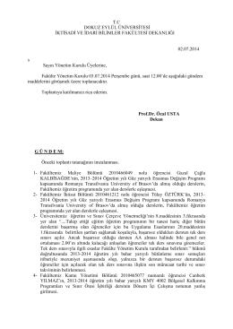 27-02 07 2014 gündem - İktisadi ve İdari Bilimler Fakültesi