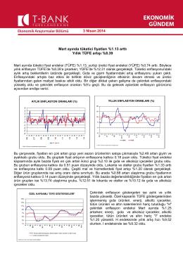 Mart ayında tüketici fiyatları %1.13 arttı Yıllık TÜFE artışı %8.39 3