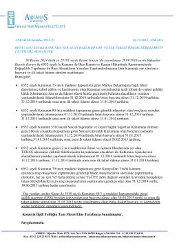 Sirküler 2014-21 6552 sayılı kanuda yer alan bazı başvuru