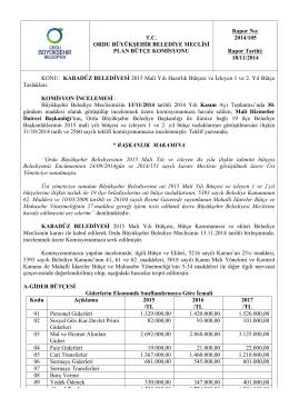 105. komisyon raporu - Ordu Büyükşehir Belediyesi