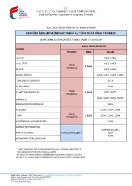 atatürk ilkeleri ve inkılap tarihi ıı / türk dili ıı final tarihleri