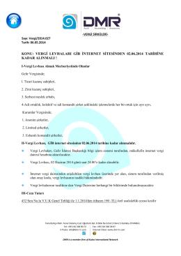 Vergi Levhaları GİB İnternet Sitesinden 02.06.2014 Tarihine Kadar