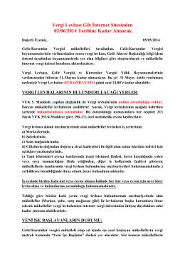 Vergi Levhası Gib İnternet Sitesinden 02/06/2014 Tarihine Kadar