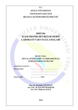 BMT104_01_Deney_1 - Düzce Üniversitesi Bilgisayar Mühendisliği