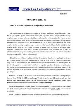 sırk 2015-06 2015 yılı damga vergisi oran ve tutarları hk.